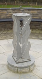 Cemetery in Scotland - 420 x 420 sundial on a stainless steel plinth made by a local blacksmith